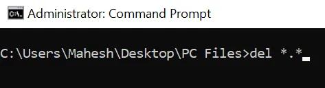 xóa file không có phần mở rộng
