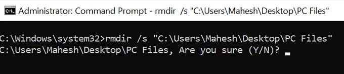 xóa thư mục chưa file command prompt
