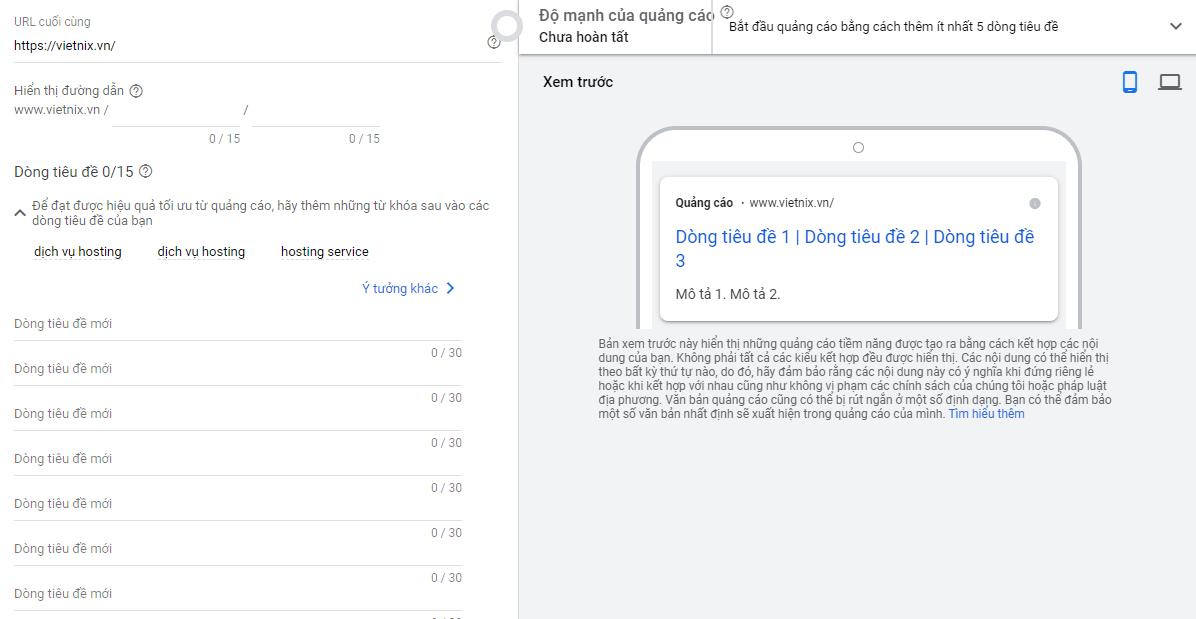 Quảng cáo tìm kiếm thích ứng của Google.