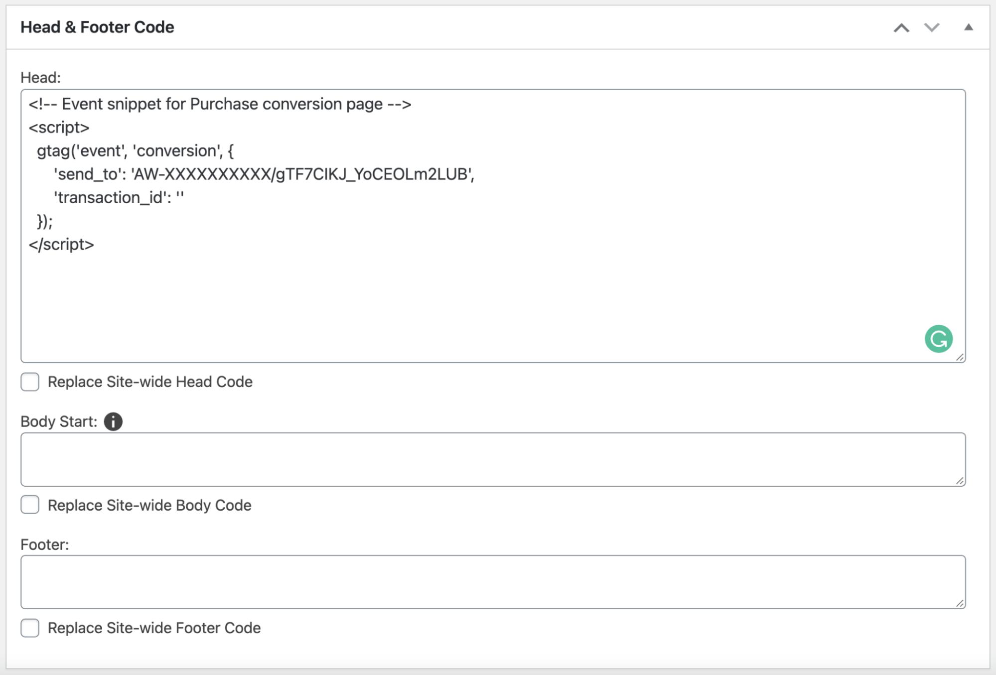 Thêm mã chuyển đổi Google Ads vào phần <head>
