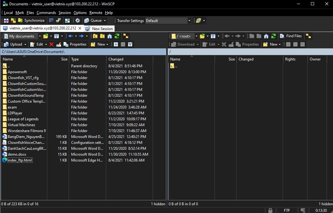 upload dữ liệu lên hosting bằng WinSCP