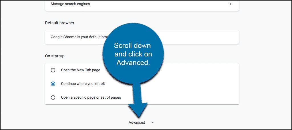 Cuộn xuống Settings Page đặt để tìm Advanced