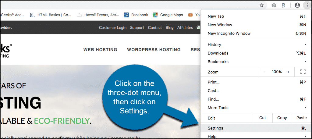 Truy cập Menu ba chấm của Chrome