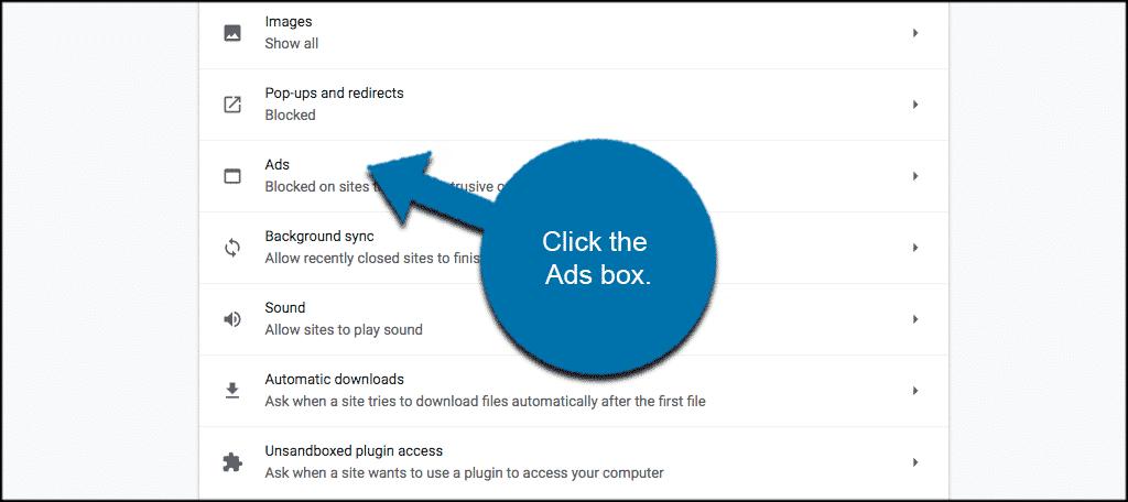 Tìm phần Ads và thay đổi Blocked Sites Function