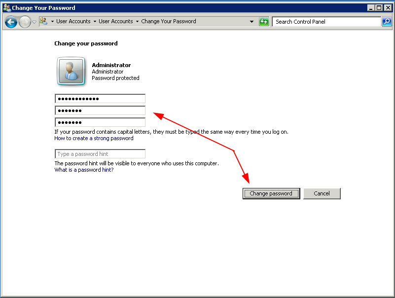 Thay đổi mật khẩu cho VPS thành công