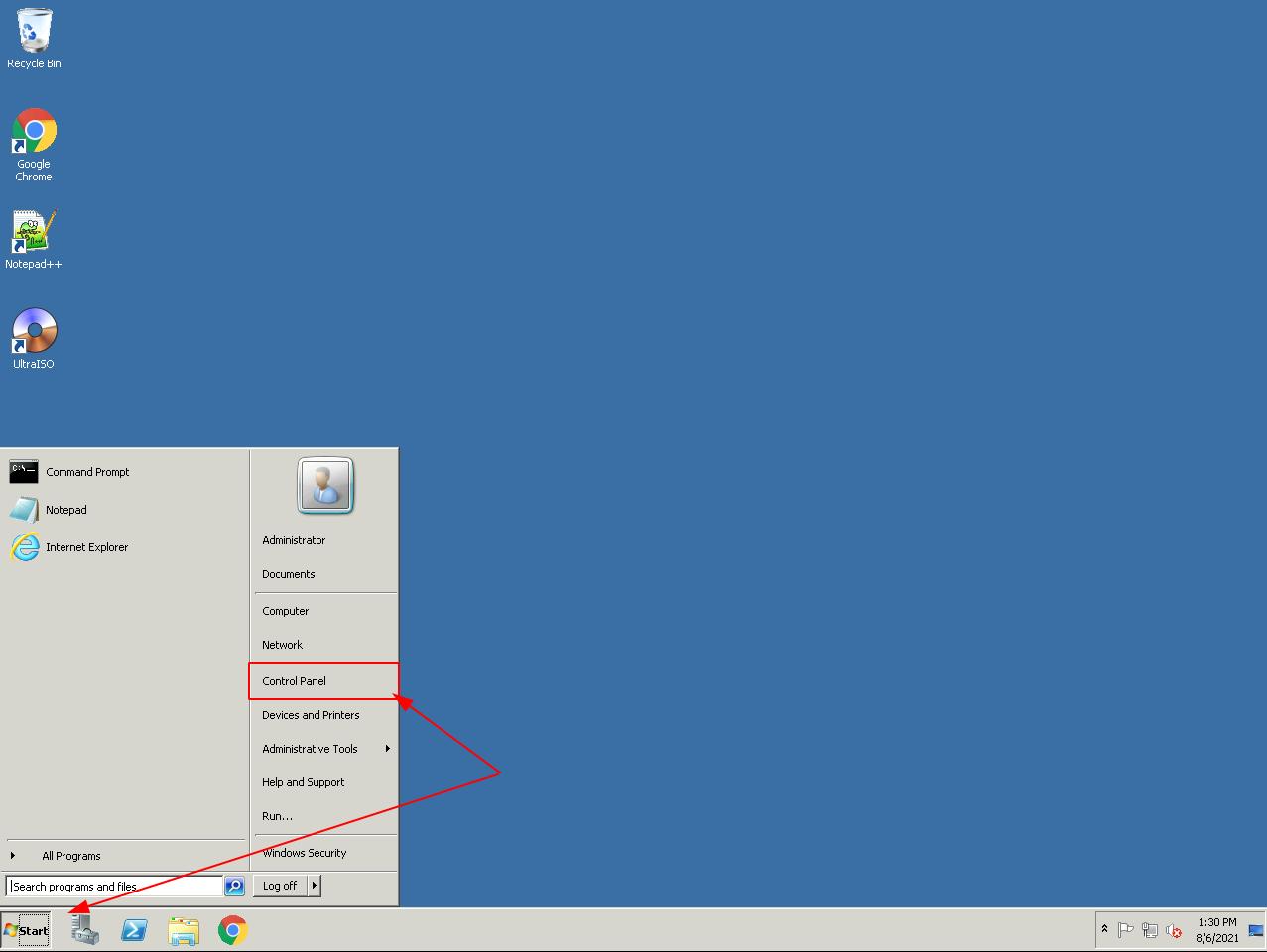 Bước 1: Click vào Start ->Control Panel