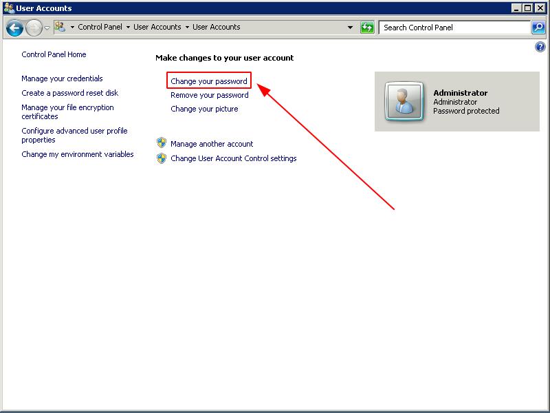 Bước 3: Click chọn Change YourWindows Password