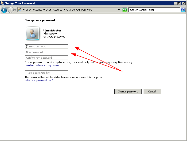 Thay đổi mật khẩu VPS